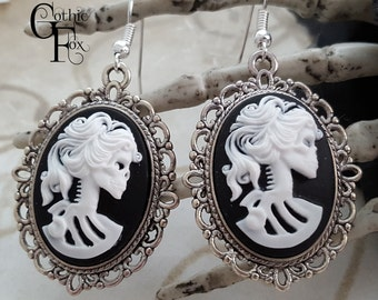 Skeleton Cameo Earrings White on Black Cameo Earrings Gothic Skeleton Lady Lolita  Skull Lady Zombie Gothic Cameo Skeleton Lady Cameo