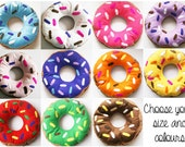 Choose Your Colour Doughnut Cushion with Colourful Icing and Sprinkles Pillow Decoration Felt Donut Fun Novelty Gift Ring Kids Room L