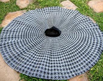 "Vintage 50s Atomic FULL CIRCLE Skirt Flocked Black and Silver Rockabilly  24"" waist S XS Starburst Built In Crinoline 1950s"