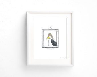 Seagull in an Ushanka (100 Animals in Hats Series) - Giclee print of original collage illustration - 8 x 10in