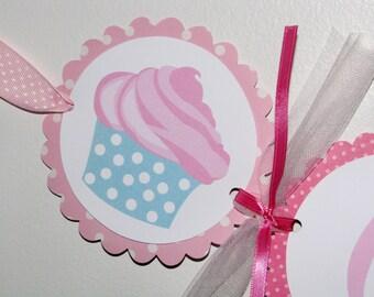 Cupcake NAME Banner - Pink, Aqua, Teal, Polka dotted cupcake