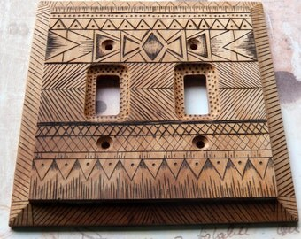 MADE TO ORDER, Tribal Design,  double toggle switch plate, Native American motif, wood burned, pyrography