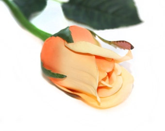 1 Light Peach Princess Rose Bud - Barely Blooming - Artificial Flowers, Silk Roses - PRE-ORDER