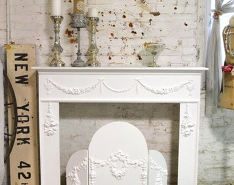 Painted Cottage Chic Shabby White Fireplace Mantel