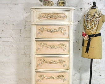 Painted Cottage Chic Shabby Lingerie Chest CH861