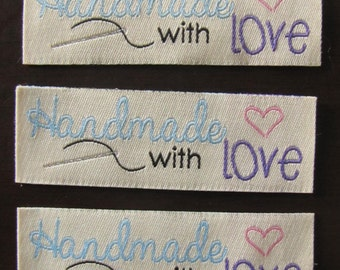 10 Handmade with love woven label tag clothes  fabric crafts craft scrapbooking scrapbook papercrafts sew on needle heart labels Valentines