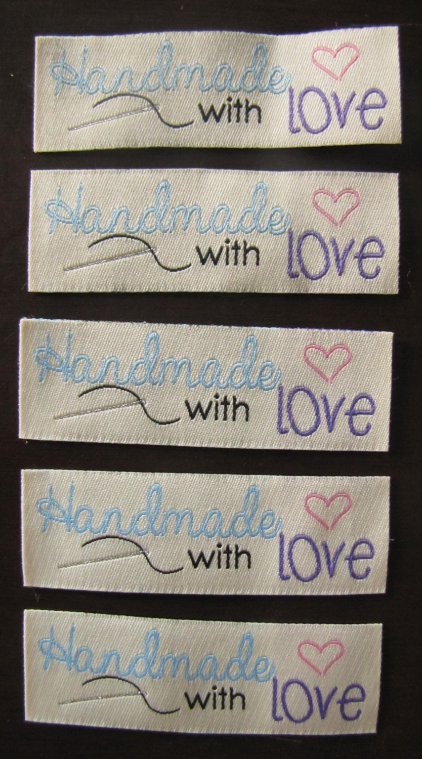 10 handmade with love woven label tag clothes fabric crafts for Custom tags for crafts