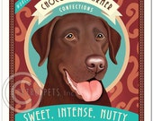 Chocolate Lab Art - Chocolate Charmer Confectious - Sweet, Intense, Nutty - 8x10 art print by Krista Brooks