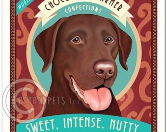 8x10 Chocolate Lab Art - Chocolate Charmer Confectious - Sweet, Intense, Nutty - Art print by Krista Brooks