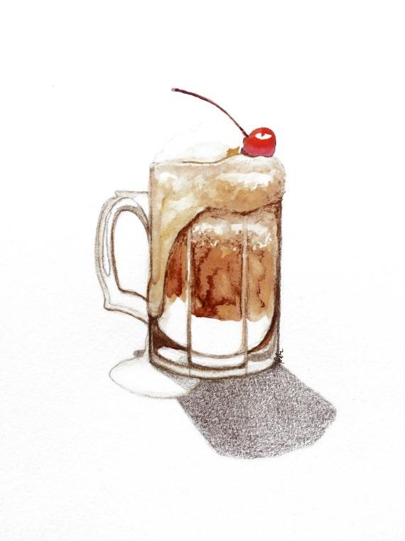 minimalist watercolor print: Root Beer Float
