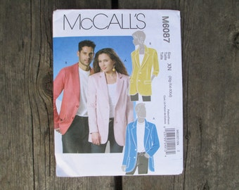 McCall's M6087, Jacket Pattern, Misses' and Men's, Sizes Xlg, Xxl, XXxl