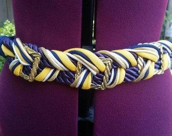 Braided Belt Woven Belt Rope Belt 1980s Belt 80s Belt Navy Blue Yellow White Gold Waist Belt Elastic Belt Decorative Belt Elastic Waist Belt