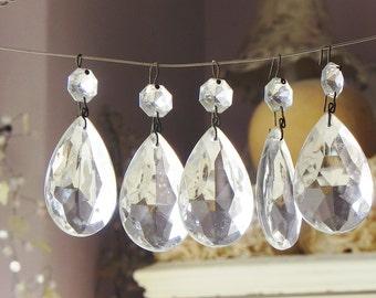"8 vintage glass tear drop pendants chandelier crystals LAMP PARTS 2"""