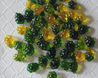 Green & Yellow Czech Glass Grapes