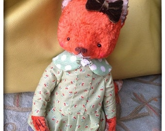 HOT JULY SALE 11 inch Artist Handmade Ooak Plush Teddy Fox Wendy by Sasha Pokrass