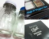Ball Mason Jar MINI SALT & PEPPER Shaker Set Vintage Glass Jars Metal Lids New Old Stock Original Packaging