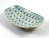 Small Scooped Pottery Dish in Turquoise and White