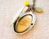 Women's Locket - Friendship Jewelry - Winnie the Pooh Quote - Piglet and Pooh - We'll be Friends Forever, won't we Pooh - Even longer