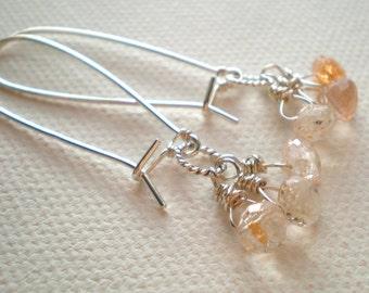 Glittering Sunstone Earrings- sunstone onion briolettes, Sterling Silver Kidney Wires