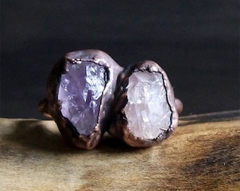 Raw Amethyst Copper Natural Stone Ring Rough Stone Jewelry Raw Crystal Dual Stone Size 6.5 Midwest Alchemy Ring February Birthstone