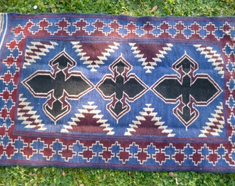 "Blue Red  Baluchi rug/kilim from Afghanistan. Hand woven.   4ft 7 "" x 2 ft 7.  140 x 88 cm"