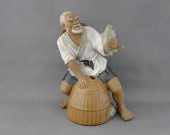 Vintage Chinese Mudman Figurine Fisherman Holding a Fish