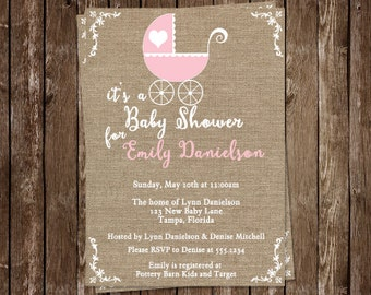 Burlap, Baby Shower Invitations, Carriage, Vintage, Pink, Girl, 10 Printed Invites, Buggy, Retro,  FREE Shipping, Linen, Canvas, Custom