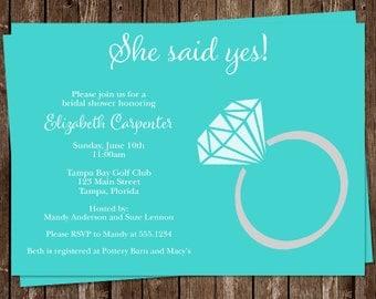 Diamond Ring, Bridal Shower, Invitations, Aqua, Blue, Wedding, 10 Printed Invites, FREE Shipping, SSYET, She Said Yes, Customized