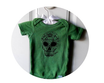 Sugar Skull Infant Creeper, Day of the Dead Baby Bodysuit, One Piece Snapsuit, Kelly Green or custom colors