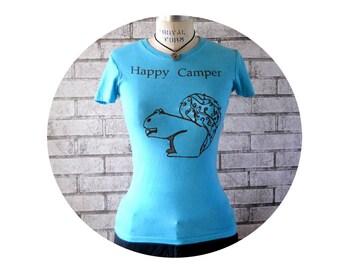 Womens Tshirt, Happy Camper Tee Shirt, Ladies Cotton Crewneck Shirt, pastel powder Blue, Nature, Outdoors, Short Sleeved, Vintage Inspired