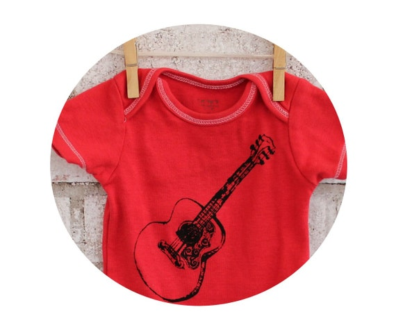 Acoustic Guitar BABY BODYSUIT, Red, Cotton, Infant Creeper, One Piece Snapsuit, Music, Musician