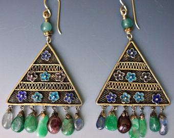 Chinese Enamel Jade Tourmaline Vermeil Earrings