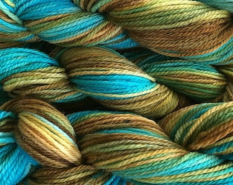 Hand Painted Merino Wool Worsted Weight Yarn in Clock Works Aqua Olive Gold