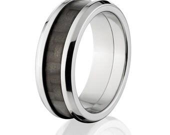 8mm wide Carbon Fiber Rings w/ High Polish Finish, Carbon Fiber Wedding Bands: Carbon Fiber Ring 8FT Ti P