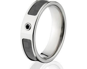 Carbon Fiber Rings, Black Diamond Carbon Fiber Wedding Rings  - Sku: 6F_Bezel_BlkDia_CarbonFiber