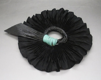 Black Pleated Ribbon Cocarde With Vintage Millinery Embellishment