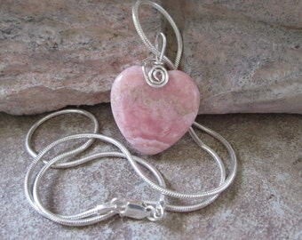 Pink Heart Necklace Rhodonite Gemstone Pendant Sterling Chain Valentines Day Gift