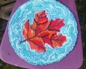seat pad  chair cushion  autumn leaf handhooked cushion fall leafrag rugupcycled cushion
