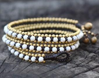 Howlite Triple Wrap Brass Bracelet