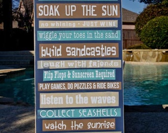 Custom, Personalized Beach House Rules, Pool Rules 15x36 - Write your own rules - Family Name