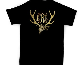 Personalized Antler Monogram T-shirt - Adult - Youth - Toddler - Infant