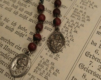 Vintage Upcyled Red Wood Rosary Beaded Assemblage Religious Earrings, Vintage Religious Medals,ooak, Repurposed,Rosary Earrings