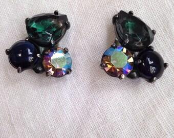 Signed Schiaparelli Rhinestone Earrings Green Brown Givre