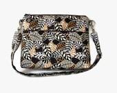 Brown Zippered Cross Body Purse - Medium Messenger Bag - Brown Pocketbook - Outside Pockets - Adjustable Strap - Hobo Womens Handbag
