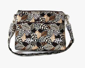 Medium Brown Zippered Cross Body Purse - Brown Messenger Bag - Cushioned Crossbody Bag - Outside Pockets - Adjustable Strap