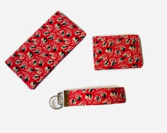 Red and Black Purse Set - Checkbook Cover / Coupon Holder, Credit Card / Business Card Holder, Key Fob - 3 Piece Set - Mini Wallet