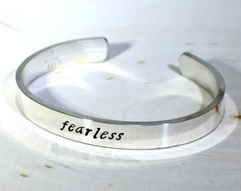 Inspirational Sterling Silver Fearless Cuff Bracelet - Solid 925 BR219