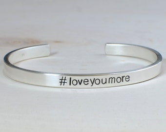 Hashtag Sterling Silver Cuff Bracelet for you to personalize with your own hashtags – Love You More as shown - solid 925 BR929