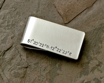 Latitude Longitude Sterling Silver Money Clip with Personalized coordinates - Solid 925 MC061