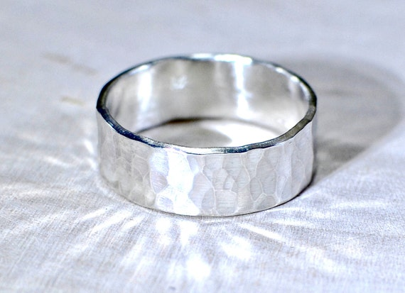 Hammered Sterling Silver Ring Handmade to Blend Bright Sparkle and Rustic Styling  - Solid 925 RG111